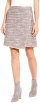 Halogen Fringe Tweed Faux Wrap Skirt (Regular & Petite)