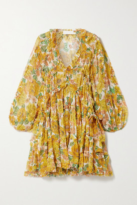 Zimmermann Poppy Ruffled Floral-print Silk-crepon Mini Dress - Yellow
