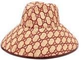 Gucci GG-embroidered Raffia Hat - Womens - Burgundy
