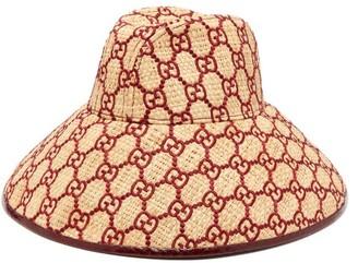 Gucci GG-embroidered Raffia Hat - Burgundy