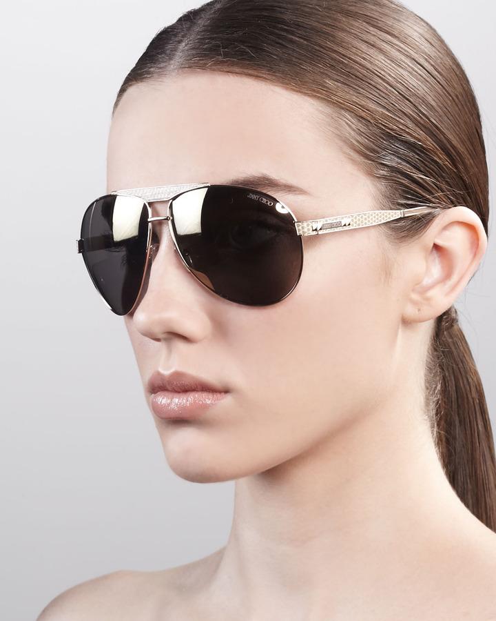 Jimmy Choo Dominique Aviator Sunglasses, Rose Golden