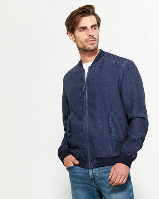 120% Lino Full-Zip Linen Bomber Jacket