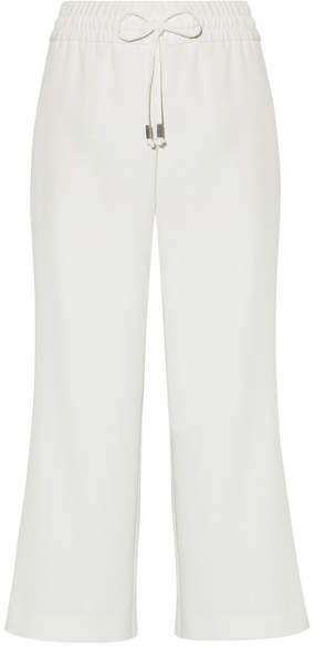 Alice + Olivia Benny Cropped Crepe Wide-leg Pants - White