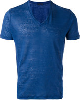 Etro V-neck T-shirt - men - Linen/Flax - XS