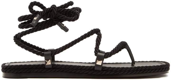 Valentino Satin rope wraparound sandals