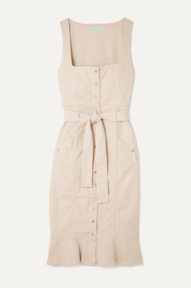 Melissa Odabash Ruby Belted Frayed Denim Midi Dress - Beige