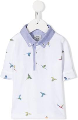 Lapin House Bird Print Button-Down Collar Polo Shirt