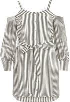 River Island Womens White stripe cold shoulder shirt dress