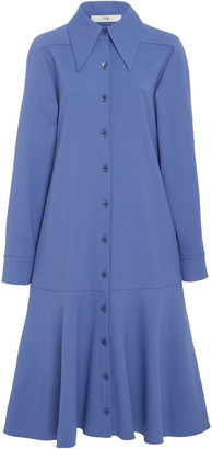 Tibi Flounce-hem Crepe Shirtdress