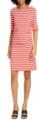 Veronica Beard Foley Ruched Stripe T-Shirt Dress