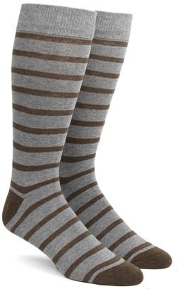 Tie Bar Trad Stripe Brown Dress Socks