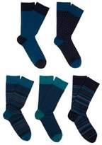 F&F 5 Pair Pack of Fresh Feel Antibacterial Socks, Men's