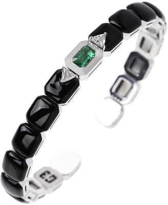 Nikos Koulis 18k White Gold Split Diamond, Emerald & Black Enamel Bracelet