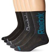 Reebok Men's 5 Pack Performance Crew Oversize Logo Sock Blue