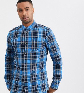 French Connection cotton check shirt-Blue