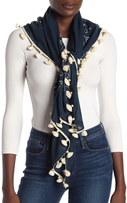 Tory Burch Embroidered Tassel Trim Square Scarf