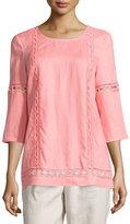 Neiman Marcus Linen Crochet-Trim 3/4-Sleeve Tunic, Pink