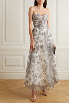 Thumbnail for your product : Monique Lhuillier Strapless Glittered Tulle Gown - White