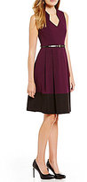 Calvin Klein Color Block Belted Fit-and-Flare Dress