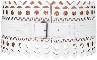 Alaia Leather Corset Belt in Blanc Optique   FWRD