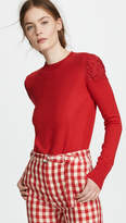 ADAM by Adam Lippes Crew Neck Top with Lace Shoulders