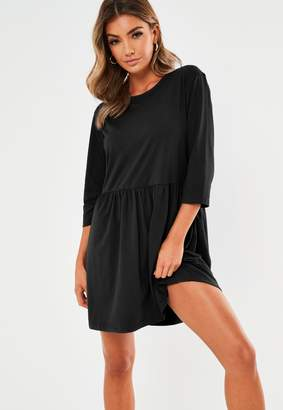 Missguided Black Jersey Long Sleeve Smock Dress