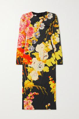 Dries Van Noten Floral-print Crepe Midi Dress - Black