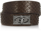 Givenchy Shark Lock Bracelet In Python And Gunmetal-tone Brass - Dark brown