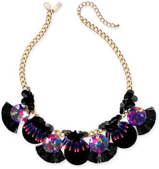 "INC International Concepts Inc Gold-Tone Sequin, Bead & Multi-Fringe Statement Necklace, 18"" + 3"" extender"