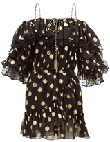 Dundas Off-the-shoulder Polka-dot Silk-blend Mini Dress - Womens - Black Gold