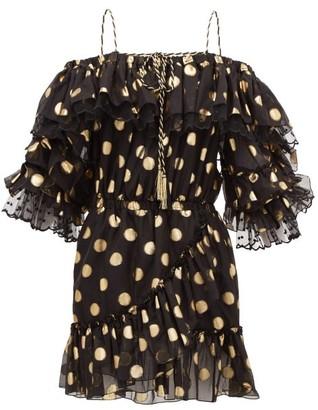 Dundas Off-the-shoulder Polka-dot Silk-blend Mini Dress - Black Gold
