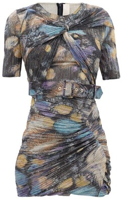 Peter Pilotto Twist-front Metallic-jersey Mini Dress - Black Multi