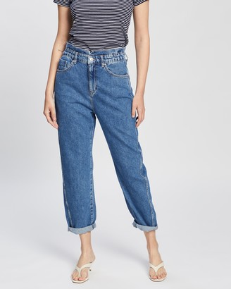 Mng Women's Blue Crop - Slouchy Jeans - Size 34 at The Iconic