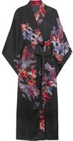 Carine Gilson Floral-print Silk-satin Kimono - Burgundy