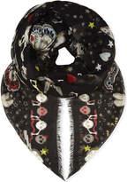 Alexander McQueen Party skull print silk blend scarf