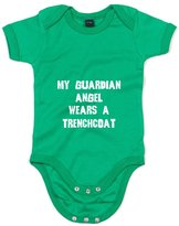 Brand88 My Guardian Angel Wears A Trenchcoat, Printed Baby Grow - 6-12 Months