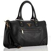 black deerskin zip pocket satchel