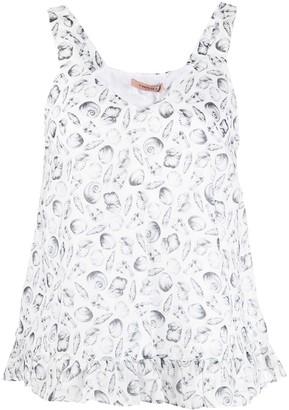 Twin-Set V-neck shell print vest top