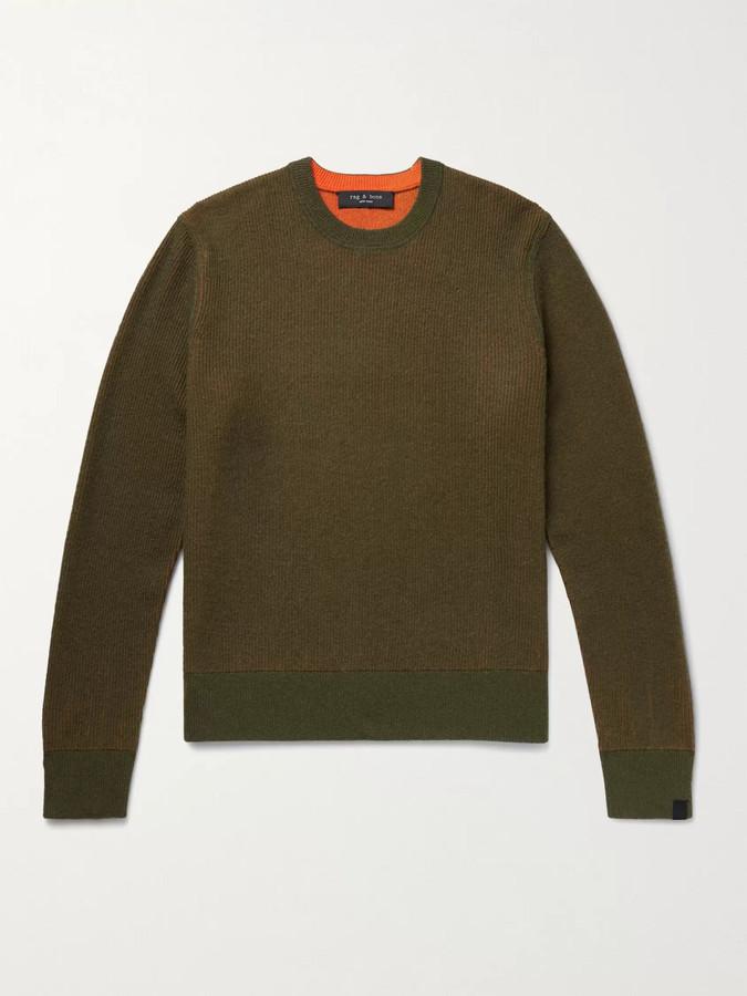 Rag & Bone Finch Reversible Wool and Cashmere-Blend Sweater - Men - Green