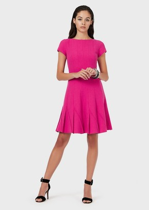 Emporio Armani Double Wool Crepe Dress With Pleated Skirt