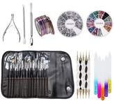Best Price And Quality Professional Set Kit With Manicure Pedicure Nail Art Accessories Decorations Including Nails Brushes / Liners / Stripers, Dotting Tools / Dotters, Pack of Metal Cuticles Pushers And Trimmer / Nipper, Wheels of Colourful And Silver Rhinestones, Striping Tapes / Stripes Decorations And Crystal Glass Files / Filers By VAGA