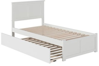 Atlantic Furniture Madison Platform Bed with Flat Panel Foot Board and Twin Size Urban Trundle Bed in Multiple Colors and Sizes