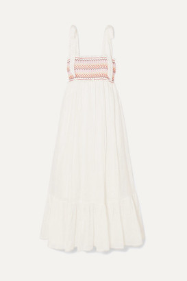 Zimmermann Goldie Crochet-trimmed Smocked Linen Maxi Dress - Ivory