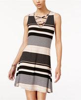 Ultra Flirt Juniors' Sleeveless Striped A-Line Dress