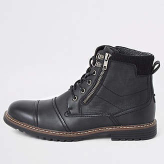 River Island Black double zip lace-up wide fit boots