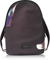 Paul Smith Black Canvas Feather Print Backpack