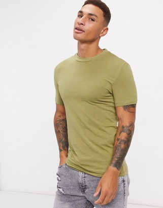 ASOS DESIGN organic muscle fit t-shirt in green