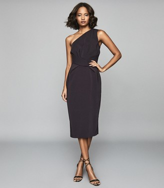 Reiss LAURENT ONE SHOULDER SLIM FIT DRESS Aubergine