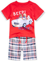 Nannette 2-Pc. Puppies Beep Honk T-Shirt & Plaid Shorts Set, Baby Boys (0-24 months)