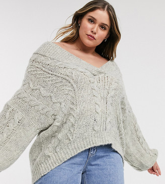 Asos DESIGN Curve oversized v neck chunky cable sweater